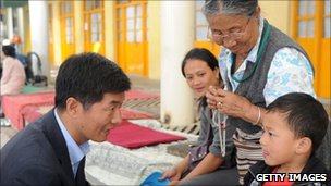 Lobsang Sangay meets people in the street during his election campaign