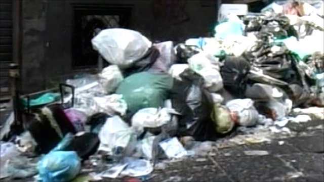 Uncollected rubbish in Naples
