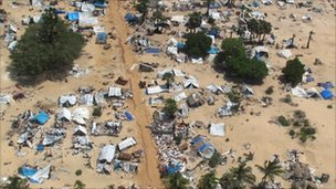 Aerial view of section of abandoned camp in former conflict zone on the Sir Lanka&#039;s north-eastern coast (file image from 23 May 2009)
