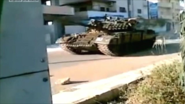 Amateur footage of tank