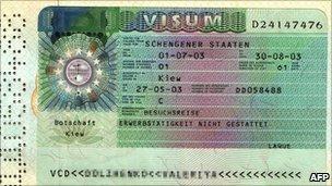 Schengen visa (archive pic)