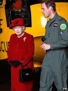 The Queen with Prince William on her visit to RAF Valley