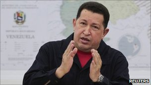 Hugo Chavez speaks during a cabinet meeting at Miraflores Palace in Caracas April 25, 2011
