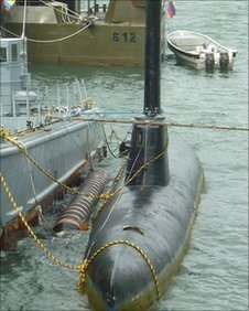 A drug submarine at Bahia Malaga, Colombia