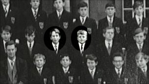 Michael Portillo stands (centre row, third from left) next to classmate TV presenter Clive Anderson on Harrow County Grammar's school photo