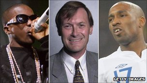(from left to right) rapper Tinchy Stryder, Conservative MP David Amess and footballer Jermain Defoe