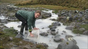 Olivier Dangles gathering samples from a stream