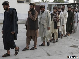 Recaptured prisoners in Kandahar on Tuesday