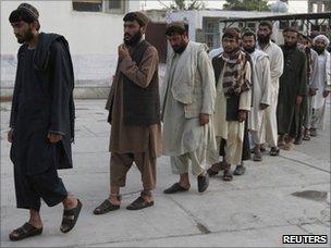 Recaptured prisoners in Kandahar on Tuesday