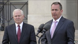 US Defence Secretary Robert Gates and British Defence Secretary Liam Fox