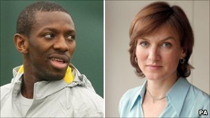 footballer Shaun Wright-Phillips and newsreader Fiona Bruce