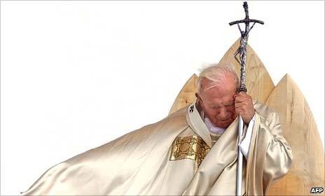 File picture -1999 in Maribor shows Pope John Paul II celebrating a mass of beatification of Anton Martin Slomsek.