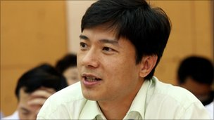 Baidu founder Robin Li speaks during a conference.