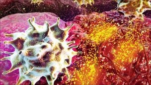 T-cells attacking a tumour, artwork