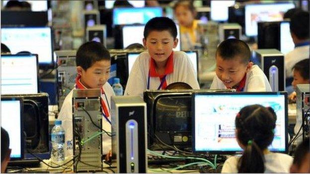 Children attending a computer class in Beijing.