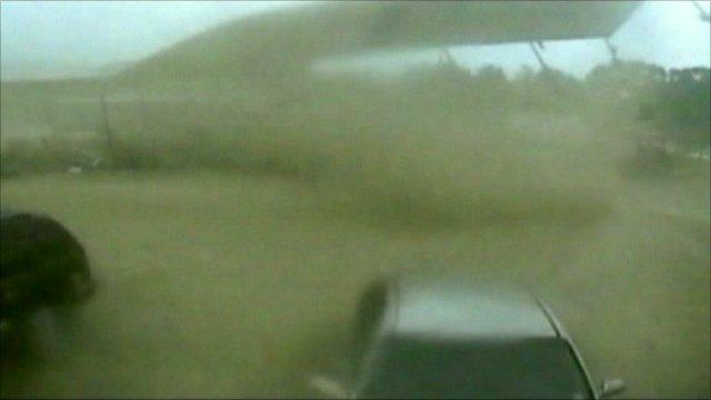 Tornado rips up shed in Arkansas