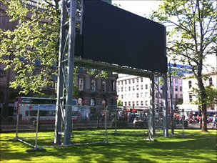 Installation work is still being carried out on the screen