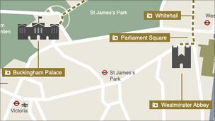 Map of royal wedding route