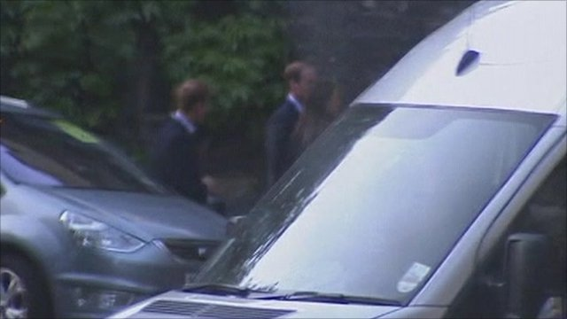 Prince William, Kate Middleton and prince Harry arrive at Westminster Abbey