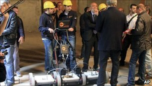 Researchers use a geo-radar device to search underground tombs in a Florence convent, Italy, 27 April