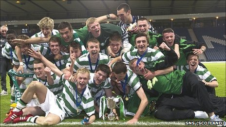 Celtic's Under 19s celebrate their cup success