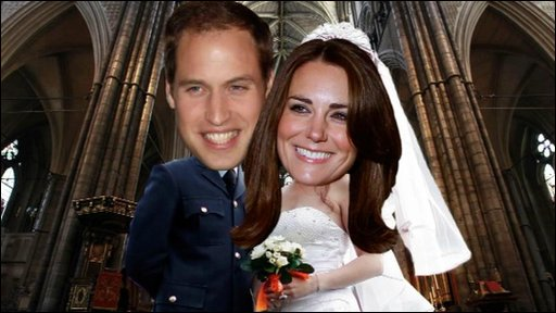 A graphic of Kate Middleton and Prince William as bride and groom