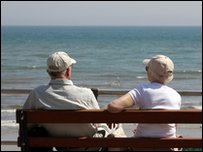 Pensioners by the beach