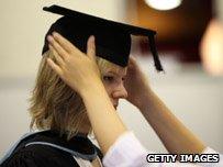 Graduate preparing for ceremony