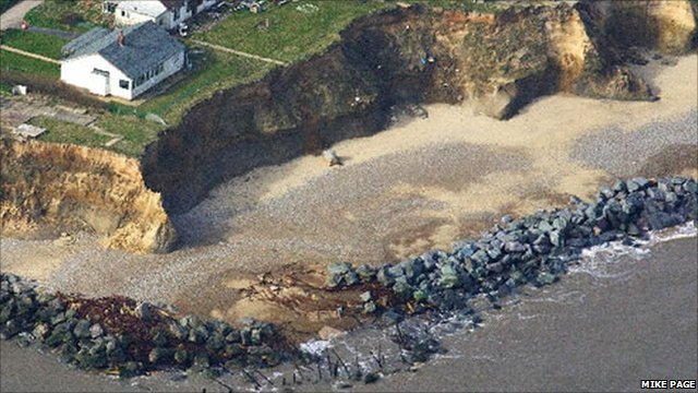 The Gilberts' home, which has been affected by coastal erosion in Happisburgh, Norfolk
