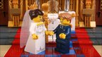 Toy figures of Kate and William at the altar with Archbishop Dr Rowan Williams