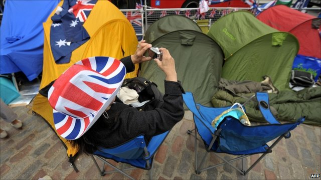 People camping at Westminster