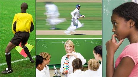 Clockwise from left: Offside rule, cricket, maths and science