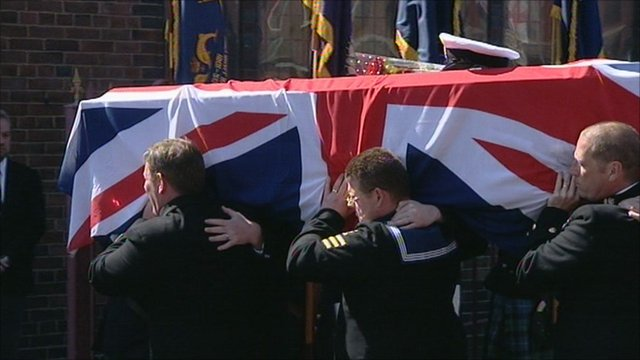 The funeral of Lt Cdr Ian Molyneux