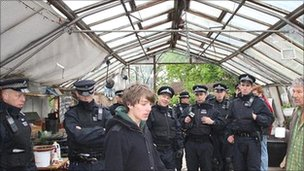Police officers and others in a greenhouse in Sipson (pic: Transition Heathrow)