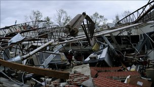 The remains of Parkersburg High School in Iowa.  Courtesy: FEMA