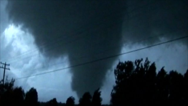 Amateur video footage of tornado