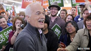 New Democratic Party leader Jack Layton at a political rally