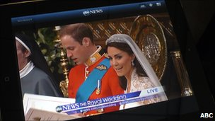 Wedding on iPad with ABC News app