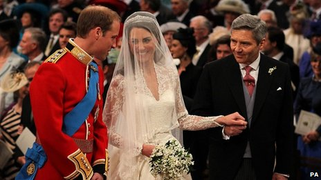 Prince William, Kate Middleton and her father Michael