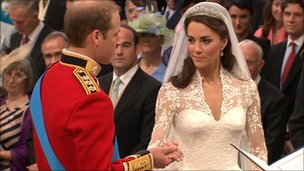 Prince William and Kate Middleton exchange vows in Westminster Abbey