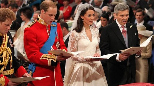 William and Catherine in Westminster Abbey