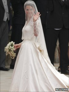 Kate Middleton in her Alexander McQueen wedding dress outside Westminster Abbey