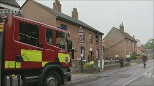 Fire engine outside house