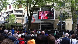 The big screen in Cardiff city centre