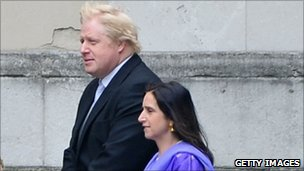 Boris Johnson arriving at Westminster Abbey with Marina Johnson