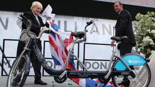 Boris Johnson unveils the tandem bike