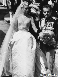 Princess Grace (formely Grace Kelly) and Prince Rainier III of Monaco following their wedding