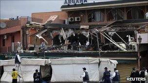 Scene of an explosion at the Argana cafe in Marrakesh