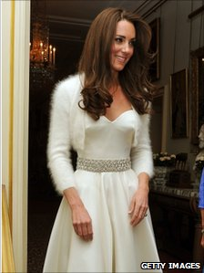 Catherine, Duchess of Cambridge leaves Clarence House to travel to Buckingham Palace for the evening celebrations of her wedding to Prince William, 29 April 2011