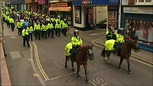Mounted police in Exeter